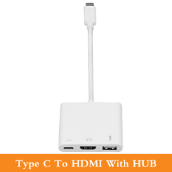 3 in 1 Cable Adapter--Type C to HDMI+USB+Hub