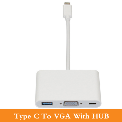 3 in 1 Cable Adapter--Type C to VGA+USB+Hub